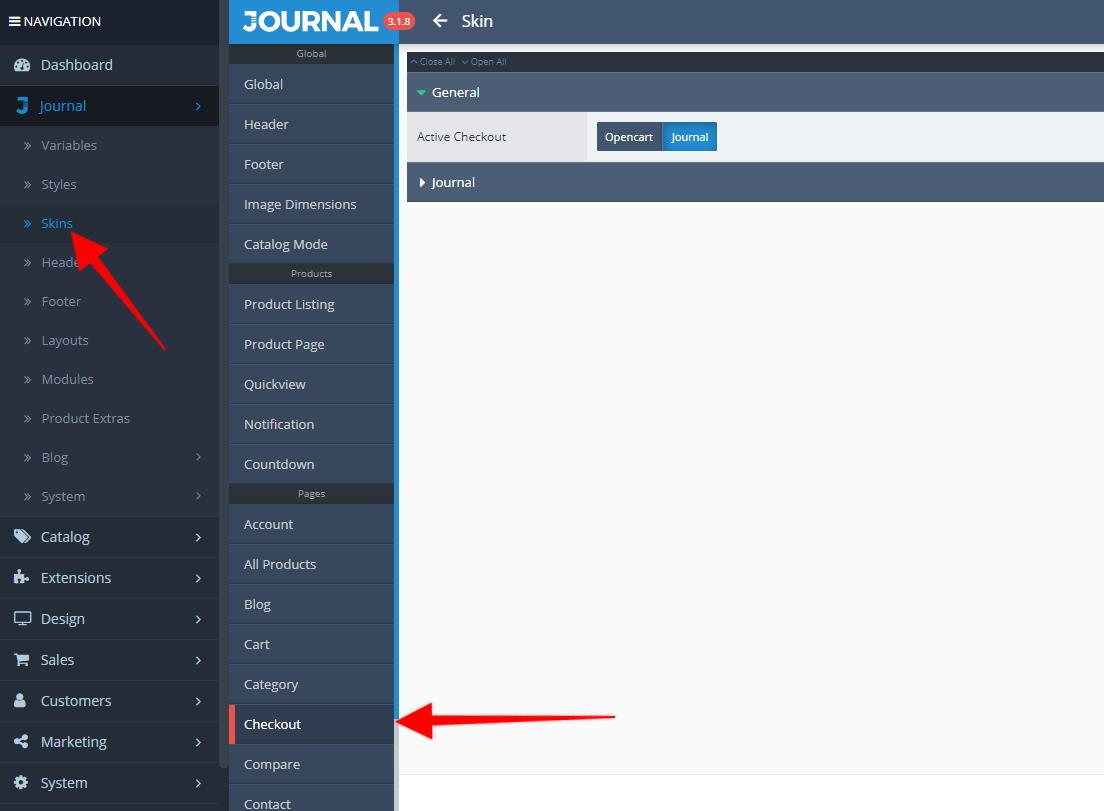 where to change journal checkout settings